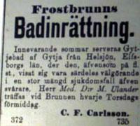 Annons från Borlänge Tidning: 1888-06-08 / Foto från mikrofilm