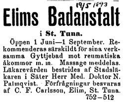 Annons 1893-05-19, troligen från tidningen Dalpilen